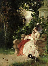 Huge oil painting Hand painted girls reading love letter in spring landscape