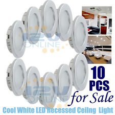 10PCS 12V 70MM LED Recessed Ceiling Dome Light RV Under Cabinet Lamp Cool W