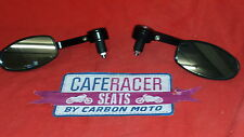 CAFE RACER BLACK OVAL  BAR END MIRRORS  CNC  MACHINED
