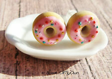Strawberry Donuts with Sparkly Sprinkles Stud Earrings - Food Jewelry - Handmade