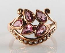 LARGE 9K ROSE GOLD PINK TOURMALINE & PEARL LEAF ART DECO INS  RING FREE RESIZE