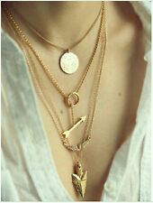 New Elegant Fashion 4layer arrow design necklace pendant charm gold choker chain