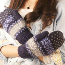 Women Girl Snowflake Knit Wool Gloves Winter Warm Mittens Finger Soft Gloves R1