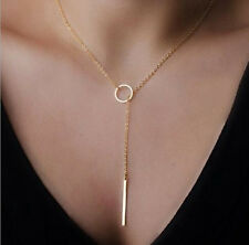 Fashion Gold Chain Necklace Metal Ring Casual Pendants Women Necklaces Jewelry