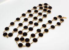 Vintage signed SWAROVSKI swan logo black Bezel set crystal NECKLACE Large crysta