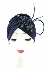 Dark Navy Blue Feather Turban Headpiece 1940s Vintage Cloche 1920s Flapper 914