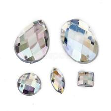 50 Assorted Clear AB Crystal Two Holes Flatback Buttons Sewing Craft Decor