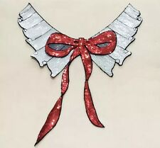 Ribbon Collar Sequin Embroidered Fashion Applique Sew On Large Patch DIY Clothe