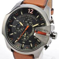 Diesel Mega Chief DZ4343 Gun Metal Brown Leather Wrist Watch for Men