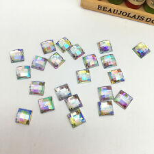 NEW 100pcs 8MM Resin Square Flatback Scrapbooking For DIY Craft Making White AB