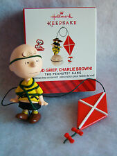 """New HALLMARK Peanuts Gang Good Grief Charlie Brown Flying a Kite 2 1/2"""" Ornament"""