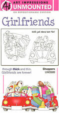 GIRLFRIENDS Shopping Unmounted Rubber Stamp Set W Cushion AI Art Impressions NEW