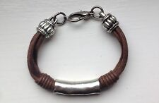 Waxed Cotton Cord String And Silver Tone Bracelet (brown)