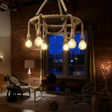 6Light Vintage Industrial Pendant Lamp Retro Edison Nautical Manila Rope Ceiling