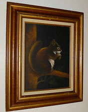 VINTAGE SQUIRREL PAINTING MOODY CAMPY MID-CENTURY MODERN OIL ON CANVAS SIGNED