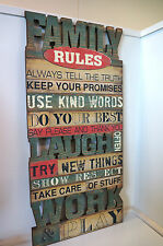Family Rules Wooden hanging plaque Sign New laugh work play decoration