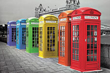 LONDON - COLOR PHONEBOXES POSTER 24x36 - ENGLAND ART BOOTH 33932