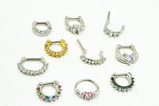 10pcs CZ 16g Nose Septum Clicker  Lip Nipple Ear Piercing Cuff Ring Cartilage