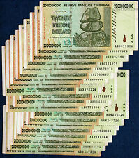 20 x 20 Billion Zimbabwe Dollars Bank Notes AA AB 2008 Currency *Before Trillion