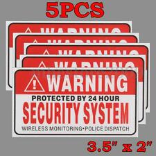 5Pcs Protected by 24 Hour Security System Stickers Saftey Alarm Signs Decal Home