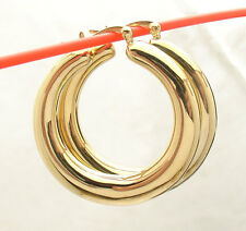 "1 3/8"" Bellezza All Shiny Graduated Style Hoop Earrings Bronze Yellow Color"