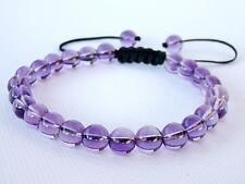 Men's Shamballa bracelet all 8mm Amethyst Quartz purple beads