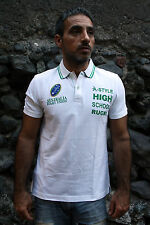 BNWT A-STYLE AUSTRALIA High School Rugby Union Polo T- Shirt White Green M