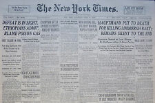 4-1936 WWII April 4 HAUPTMANN PUT TO DEATH FOR KILLING LINDBERGH BABY; SELASSIE