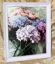 VINTAGE SHABBY WOOD FRAME LAVENDER PINK ROSE HYDRANGEA PRINT CHIC COTTAGE DECOR