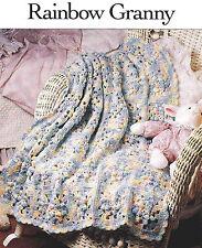 Crochet Pattern ~ RAINBOW GRANNY BABY AFGHAN ~ Instructions