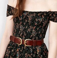 NWT S/M BDG Urban Outfitters Brown Leather Double Buckle Waist Belt Nasty Gal