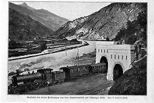 Simplontunnel Ausfahrt des ersten Probezuges auf Schweizer/ italienischer...1906