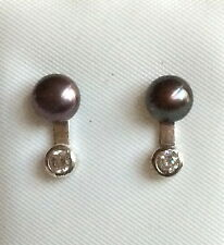 Sterling Silver Tahitian Pearl Earrings Black Brown Freshwater Pearls USSeller X