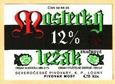 ETICHETTA - MOSTECKY 12% LEZAK - REPUBBLICA CECA -NORD BOEMIA - N.31