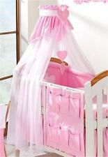 LUXURY BABY CANOPY / DRAPE FOR COT COT BED + HOLDER - WHITE / PINK PLAIN