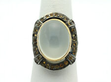 18k Yellow Gold YG Vintage Design Oval Moonstone Fashion Ring Sz 7.5 8.2g  D988