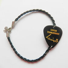 ONE Direction 1D Louis GUITAR PICK PLECTRUM NERO PELLE INTRECCIATA TWIST BRACCIALE