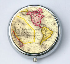 Western Hemisphere PILL case pill box pillbox holder Vintage World Map