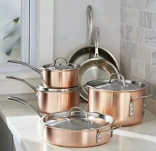 Calphalon Tri-Ply Copper 10 Piece stainless Steel Cookware Pots Pans Set NEW!!!
