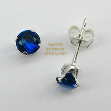 925 STERLING SILVER Sapphire Blue 4mm Stud Post Earrings NEW - USA SELLER!