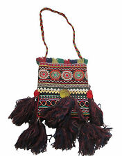 Vintage Indian Embroidered Shoulder Bag Tribal Ethnic Sewing Black large TASSELS