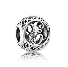 New Authentic Pandora Charm 791849CZ Vintage Letter E Clear CZ Box Included