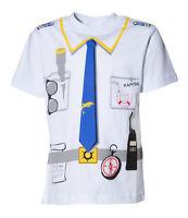 Kinder Uniform T-Shirt * KAPITÄN * Weiss 92/98 bis 140/146