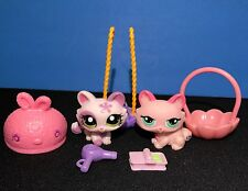 Littlest Pet Shop 1628 1345 Pink Purple Flower Kitty Cat Accessories Green Eyes