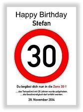 Verkehrszeichen Bild 30 Geburtstag Deko Geschenk persönliches Verkehrsschild NEU