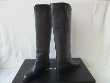 $1750 Chanel Black  Leather CC Logo  Knee High Boots 38 New