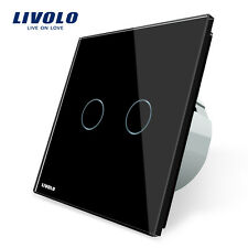 Livolo New EU Type AC 110-250V Black 2 Gang 2 Way Wall Light Remote Touch Switch