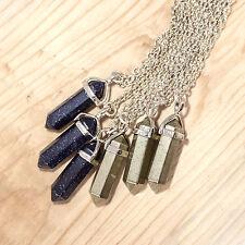 Gold pyrite crystal pierre collier-boho vintage argent-guérison aura quartz