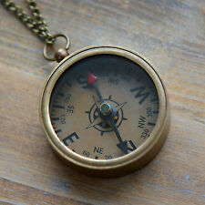 Compass Necklace, Antique Bronze, Glass, WORKING Pendant & Chain Vintage Style