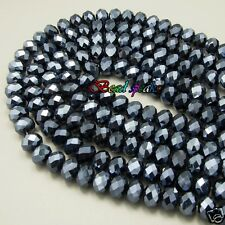 30 pcs 12×9 mm Graphite Black Faceted Rondelle Glass Crystal Beads CC901
